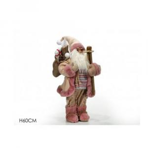 General Trade Babbo Natale 60 cm Rosa Con Sci