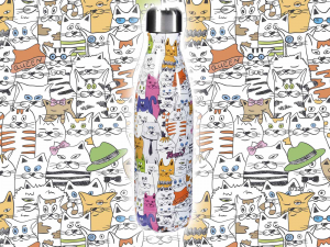Bottiglia in Acciaio Gatti Colorati