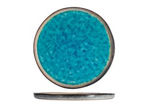 Piatto piano in stoneware azzurro mare cm27 bordo basso