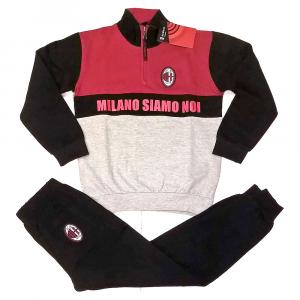 Pigiama taglia XXL anni Milan mezza zip rosso