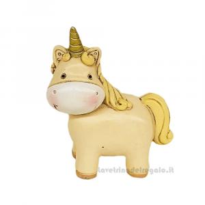 Statuina Unicorno medio in resina 7 cm - Bomboniera battesimo e comunione