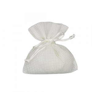 Sacchetto tessuto bianco 14x12 quadrettato