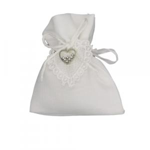 Sacchetto in tessuto bianco con cuore bianco e brillantino