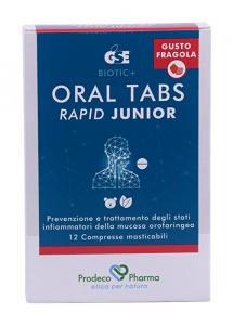 GSE Oral Tabs Rapid Junior Per La Gola Gusto Fragola 12 Compresse Masticabili