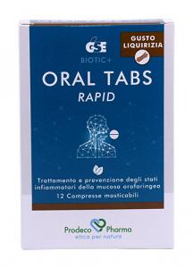 GSE Oral Tabs Rapid Per Il Benessere Della Gola Gusto Liquirizia 12 Compresse Masticabili