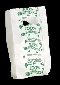 MINI Sacchetto bianco compostabile - F.to 14+4+4x32+3 a strappo