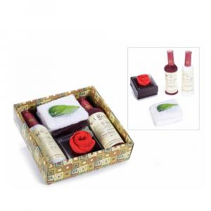 Scatola regalo con 4 asciugamani cotone a bottiglia e rosa
