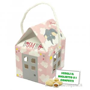 Portaconfetti casetta Rosa Dumbo Disney 5x5x5 cm - Scatole battesimo bimba