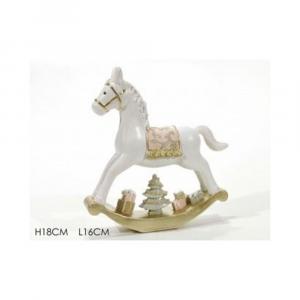 General Trade Cavallo A Dondolo Bianco/Oro Natalizio
