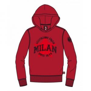 Felpa 10 anni Milan rossa con cappuccio stampa a rilievo