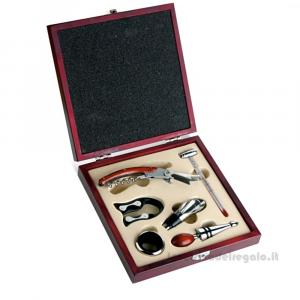 Set vino con 6 accessori in scatola da regalo di legno 19.7x19.7x4.4 cm - Idea Regalo