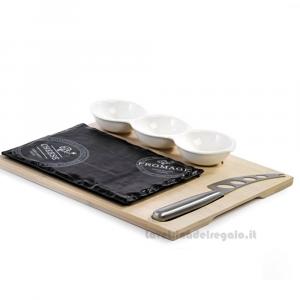 Tagliere con Antipastiera e Coltello in scatola regalo 29x24.5x3.8 cm - Bomboniera matrimonio