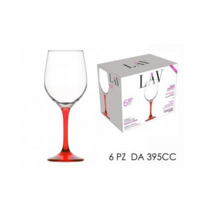 General Trade Set 6 Calici 395cc Stelo Rosso