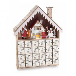 Calendario dell' Avvento legno con 24 cassettini e luci led