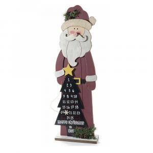 Calendario dell'avvento Babbo Natale in legno forma di albero