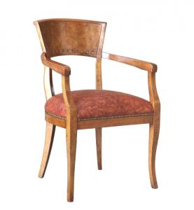 Armlehnstuhl Wurzelholz mit gepolstertem Sitz