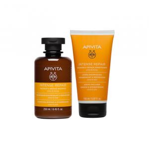 Apivita Intense Repair Shampoo Nutriente E Riparatore Oliva E Miele 250ml + Balsamo Riparatore Intenso 150ml