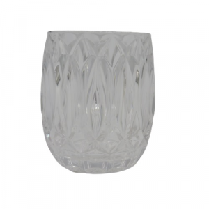 Bicchere vetro trasparente diamantato.