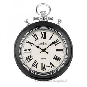 Orologio Nero da parete a forma di orologio da tasca in metallo 32x41 cm - Idea Regalo
