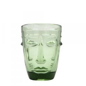 Bicchiere Faccia in vetro verde forma conica