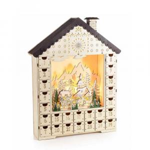 Calendario dell'Avvento in legno con paesaggio e luci led