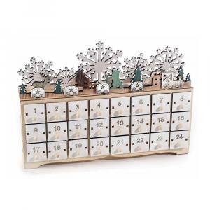 Calendario dell'Avvento legno con 24 cassettini e luci led