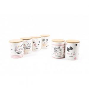 Mercury Kitty Barattoli Per la Cucina con Tappo Ermetico Bamboo Oro in Porcellana, Sale Caffè Zucchero