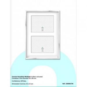 Virtime Porta Foto 15x20 cm Color Silver Due Foto Elegante Bello Argento