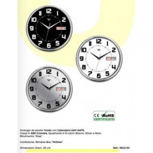 Virtime Orologio Da Parete Tondo Con Calendario DayDate 30 cm Cassa in ABS Cromata Vari Colori Assortiti