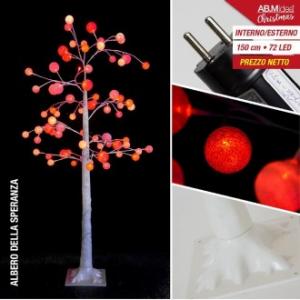 Albero Natalizio con rami e palline con luci Led Rosa