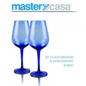 Master Casa Magnum Goblet Bis Di Calici Trasparente Blu In Vetro Soffiato Ideali per Vino Casa