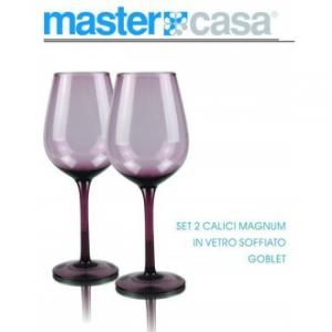 Bis Di Calici Da Vino Magnum Goblet Con Sfumatura Viola In Vetro Soffiato Casa Cucina