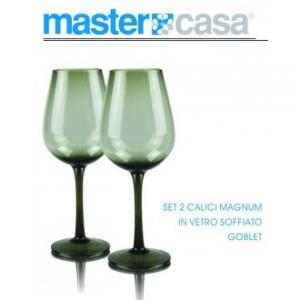 Bis Di Calici Da Vino Magnum Goblet Con Sfumatura Verde In Vetro Soffiato Casa Cucina
