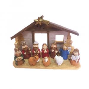 Presepe con capanna in resina colorata 10 personaggi Natale
