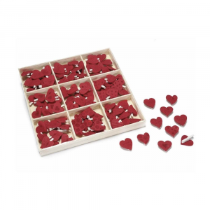 Scatola 108 mollette in legno con cuore in panno