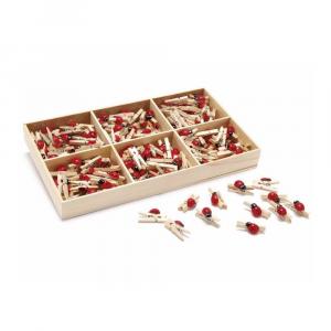 288 mollette decorative in legno con coccinella