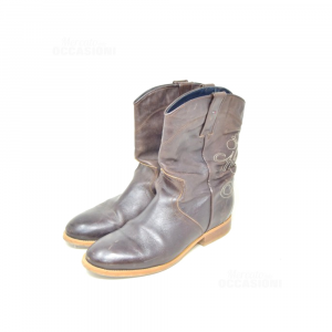 Ankle Boots Woman Youxani Tommy Hilfiger N 40 Brown Dark Leather