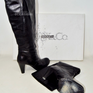 Boots Woman Butx& Co.in True Leather Black With Heel 9cm