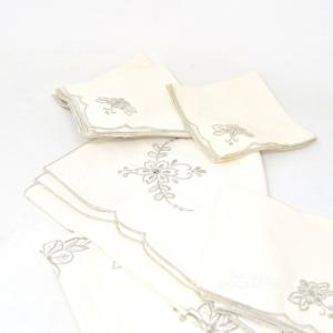 Tovaglietta From Thè Embroidered 80x80cm + 6 Napkins