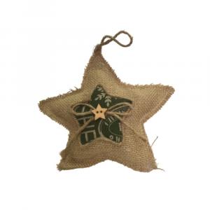 Addobbo Natale stella juta corda stoffa legno