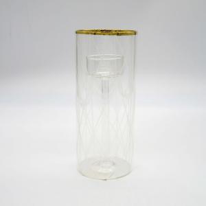 Porta candele cilindrico intagliato bordo oro alto 18cm