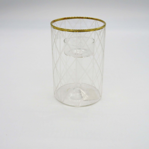 Porta candele vetro cilindrico intagli diamante 12cm