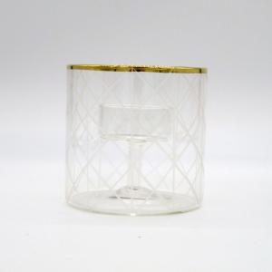 Porta candele cilindrico intaglio diamante 9cm