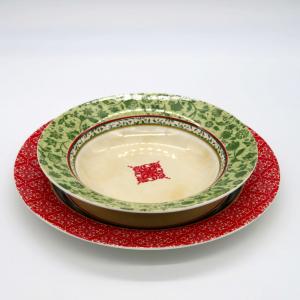 18 piatti decoro Natale core rosso verde porcellana