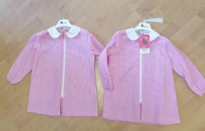 Bipack grembiule asilo bimba tg. 3 anni 98cm B scuola colore rosa quadretti bianco