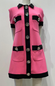 MARCO BOLOGNA MWA20159VE Abito Chimbor in crêpe fuchsia bottoni gioiello su riporto nero
