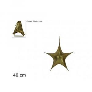 Due Esse Stella Natalizia Appendino 40 cm Laminata Oro Richiudibile
