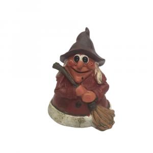 Strega statuina in resina con campanella e cappello