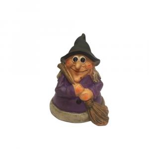 Strega statuina in resina con vestito viola e scopa