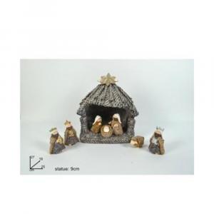 Due Esse Capanna Con Scene di Natività 8 Pezzi di Tessuto 27 cm